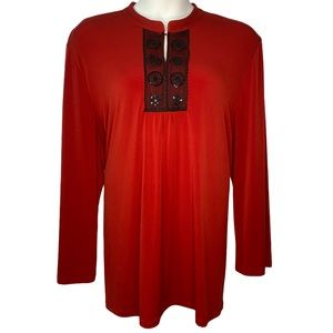 Maggie Barnes 3x 4x Red  Sequins Long Sleeve Tunic